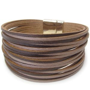Multi-layer leather magnetic clasp bracelet
